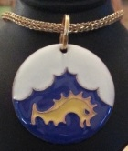 Cloisonne Golden Dolphin medallion