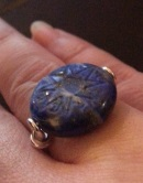 Carved Lapiz Signet Ring